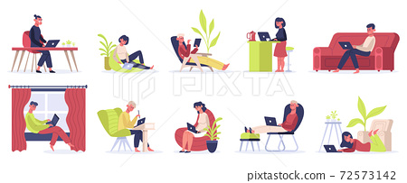 Freelance working people. Young male and female freelancers work at home. Self employed convenient workplace vector illustration set 72573142