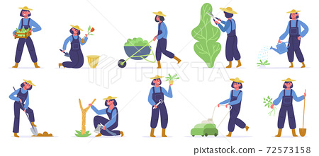 Garden worker. Female gardener planting, watering and growing sprouts, garden job with farming tools. Agriculture gardener vector illustrations 72573158