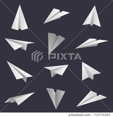 Paper planes. Handmade origami aircraft figures, paper folding hobby. Polygonal paper shapes isolated vector illustration set 72573203