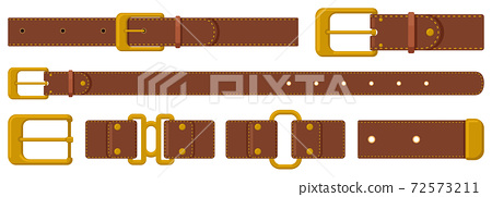 Leather strapping. Brown leather belts with steel buckles and metal fittings. Haberdashery strapping accessories vector illustration set 72573211
