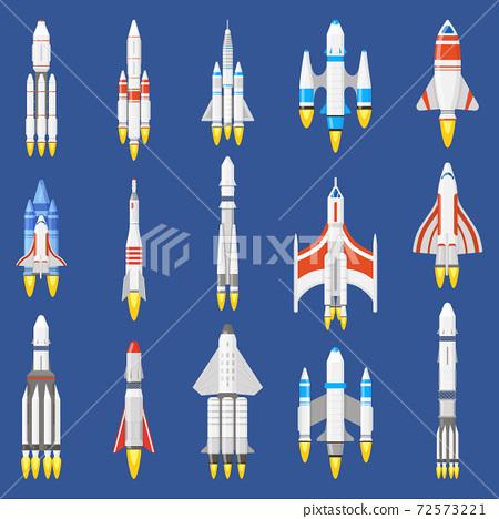 Space rockets. Spacecraft ships, shuttle vehicles and aerospace rockets, space shuttle start. Spaceship technology vector illustration set 72573221
