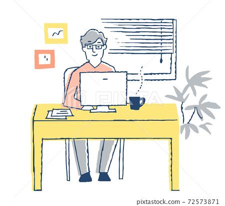 一個人在電腦上工作 72573871