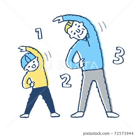 爺爺和男孩一起做運動 72573944