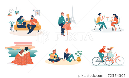Collection of man and woman cartoons - romantic couple dating. Couples sitting at home or in a 72574305