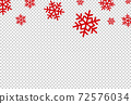 Red flat snowflakes falling  from top ,Christmas decoration isolated  on png or transparent  background, space for text, sale banner template , New Year, Birthdays, illustration vector  72576034
