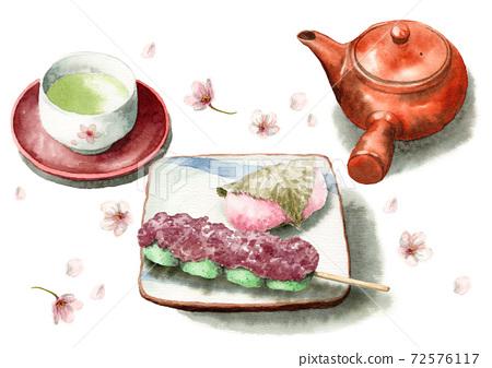 模擬水彩櫻花櫻草草堂Myoji Dango茶 72576117
