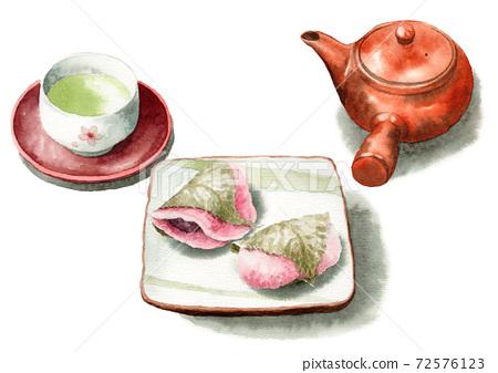 兩種類型的模擬水彩櫻花年糕和茶 72576123