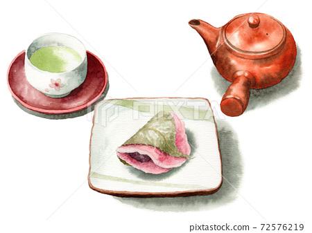 模擬水彩櫻年烤皮和茶 72576219