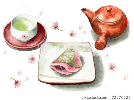 模擬水彩櫻年烤皮和茶 72576220