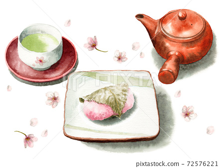 模擬水彩櫻櫻道明寺和茶 72576221