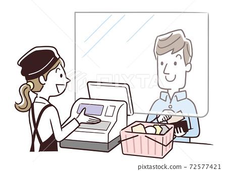 벡터 일러스트 소재 : 슈퍼 계산대, 파티션, 감염 대책 72577421