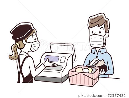 矢量圖素材:超市,收銀機,口罩,感染控制 72577422