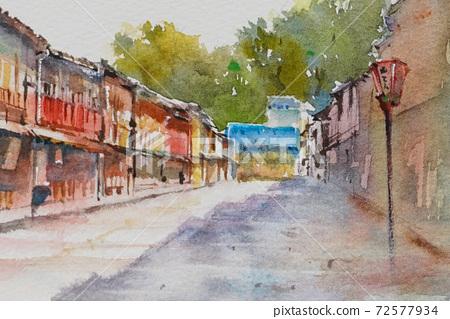 Kanazawa Higashi Chaya Street watercolor landscape painting 72577934