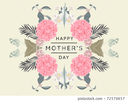 Happy mother's day greeting card design, mirror effect/ symmetry dahlia and other flowers wreath 72578657