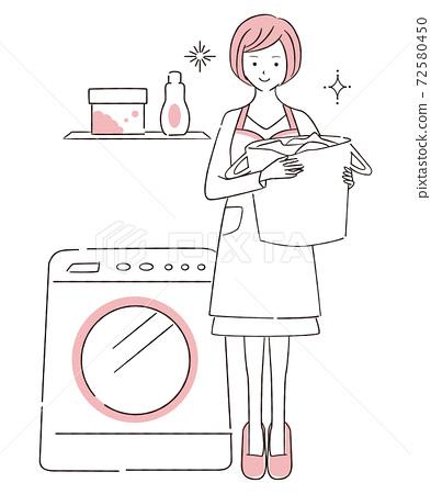 手繪1color家務圍裙女人全身洗 72580450