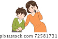 Mom making a phone call worried about a child who has a stomachache 72581731