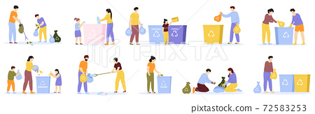 People waste sorting. Family with kids sorting recycling garbage, household activity, cleaning environment. Waste sorting vector illustration set 72583253