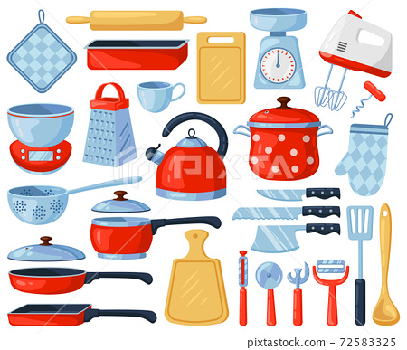 Kitchen dinnerware. Kitchenware and tableware dishes, tools, cutlery, grater, mixer and cutting board. Kitchen appliance vector illustration set 72583325