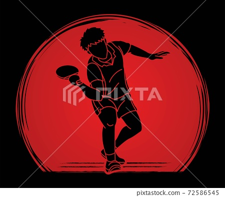 Ping Pong player, Table tennis action cartoon graphic vector 72586545