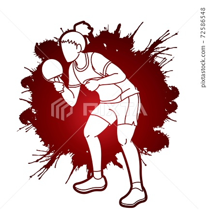 Ping Pong player, Table tennis action cartoon graphic vector 72586548