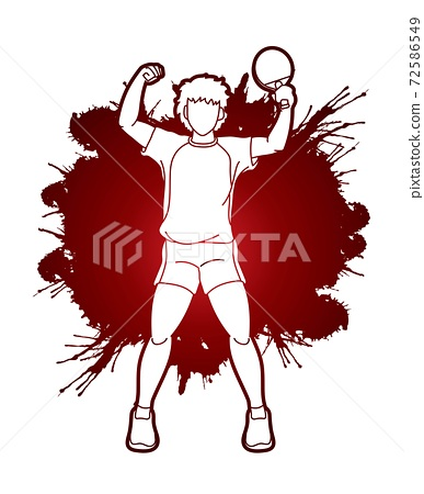 Ping Pong player, Table tennis action cartoon graphic vector 72586549