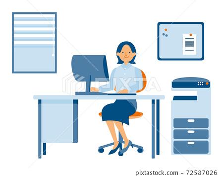 在公司工作的女性OL(單色) 72587026