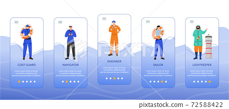 Maritime professions onboarding mobile app screen vector template 72588422