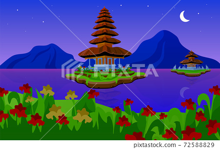 Pura Ulun Danu Bratan flat vector illustration 72588829