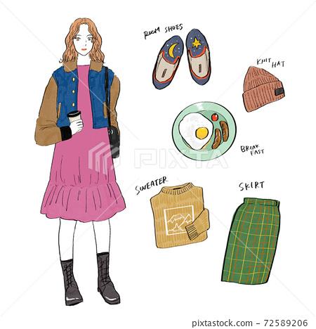 Coordination hand-drawn illustration 72589206