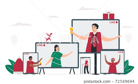 The big family is celebrating Christmas day via social online application. They are smiling and talking together. 25 december. Vector illustration in flat style. 72589694