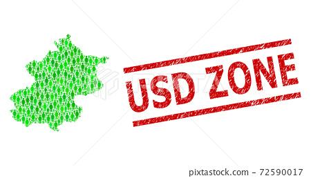 Grunge USD Zone Stamp Imitation and Green People and Dollar Mosaic Map of Beijing Municipality 72590017