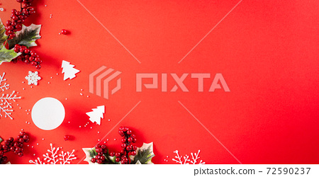 Christmas background concept. Top view of Christmas gift box red and golden ball with snowflakes on light red pastel background. 72590237