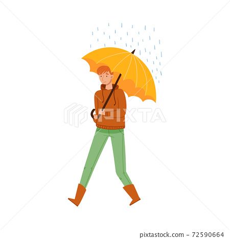 Male Character Walking Under Umbrella in Rainy Day Vector Illustration 72590664