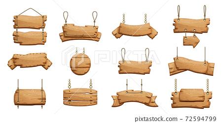 Wooden signs set. Vector 72594799