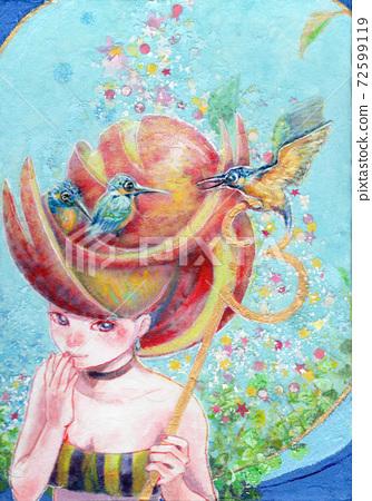 아날로그 일러스트 요정 물총새 파랑새 Kingfisher 72599119