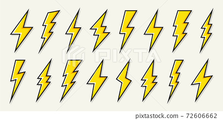 Yellow lightning bolt icons collection. Flash symbol, thunderbolt. Simple lightning strike sign 72606662