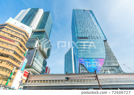 Cityscape of Tokyo Scenery around the east exit of Shibuya Station 72606727