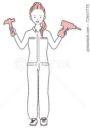그린 1color DIY 여자 포니 테일 여성 72607778