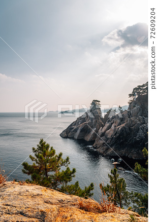 Hajodae sea and rocky cliffs with pine trees in Yangyang, Korea 72609204