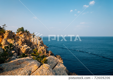 Hajodae sea and rocky cliffs with pine trees in Yangyang, Korea 72609206
