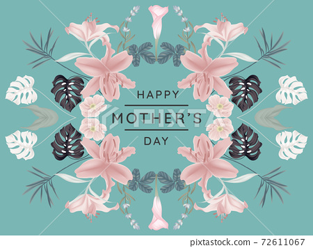 Happy mother's day greeting card design, mirror effect/ symmetry lilies and other flowers wreath 72611067