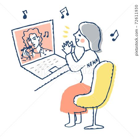 一個女人在筆記本電腦上欣賞視頻 72611930