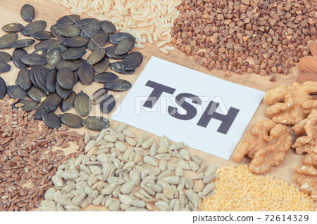 Dietary and beneficial eating for thyroid gland. Food containing vitamins and minerals 72614329