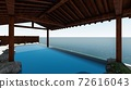 Hot spring open-air bath, sea, no roof, no people Illustration 9 72616043