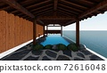 Hot spring open-air bath, sea, no roof, no people Illustration 2 72616048