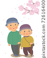 An elderly couple taking a walk while watching the cherry blossoms 72616400