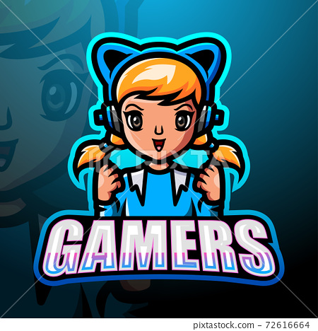 Gamer girl mascot esport logo design 72616664