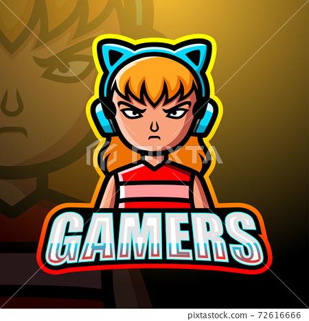 Gamer girl mascot esport logo design 72616666
