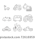 set of cars, transportation editable stroke icon, vehicle, icon set, symbol, transports toy, cars, van, excavator, truck, tractor, scooter, ambulance 72616959