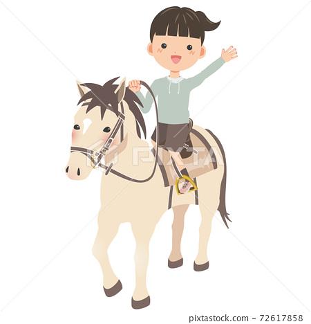 馬,我上了!孩子們騎行體驗形象的女孩 72617858